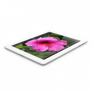 White iPad 3 with image of a Pink Flower
